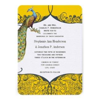 Navy and Mustard Peacock Love Bird Pattern Wedding Cards