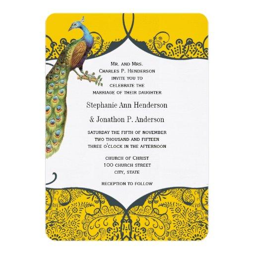 Navy and Mustard Peacock Love Bird Pattern Wedding 5x7 Paper Invitation Card