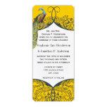 Navy and Mustard Peacock Love Bird Pattern Wedding 4x9.25 Paper Invitation Card