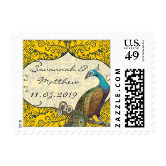 Navy and Mustard Peacock Love Bird Postage Stamp