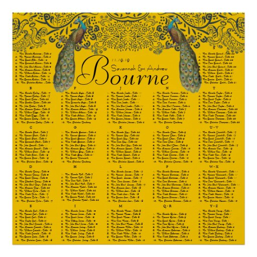 Navy and Mustard Peacock Love Bird Seating Chart Posters