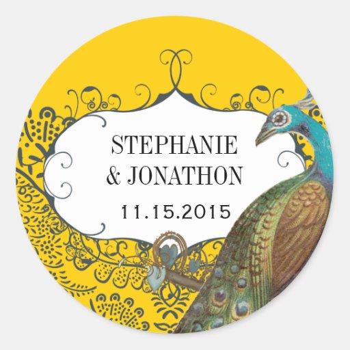 Navy and Mustard Peacock Love Bird Wedding Seal Classic Round Sticker