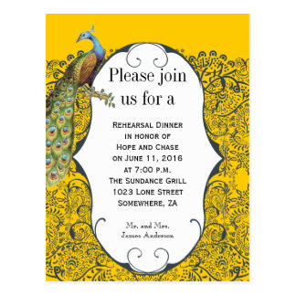 Navy and Mustard Yellow Peacock Rehearsal Dinner Postcard