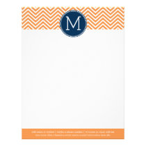 Navy and Orange Chevrons with Custom Monogram Letterhead