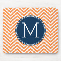 Navy and Orange Chevrons with Custom Monogram Mouse Pad