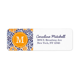 Navy and Orange Retro Floral Damask Monogram Label