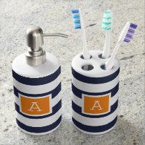 Navy and Orange Stripes Monogram   Editable Colors Bath Set