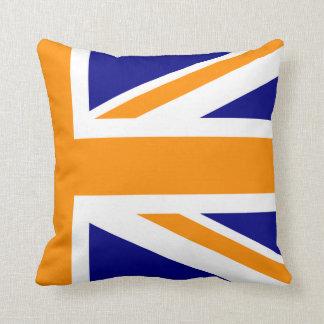Navy and Orange Union Jack Half Throw Pillows