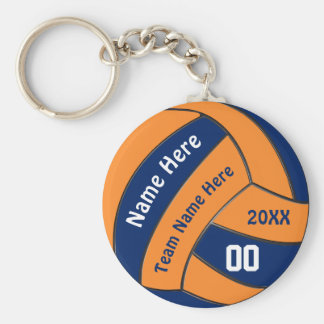Navy and Orange Volleyball Gifts with 4 Text Boxes Keychain