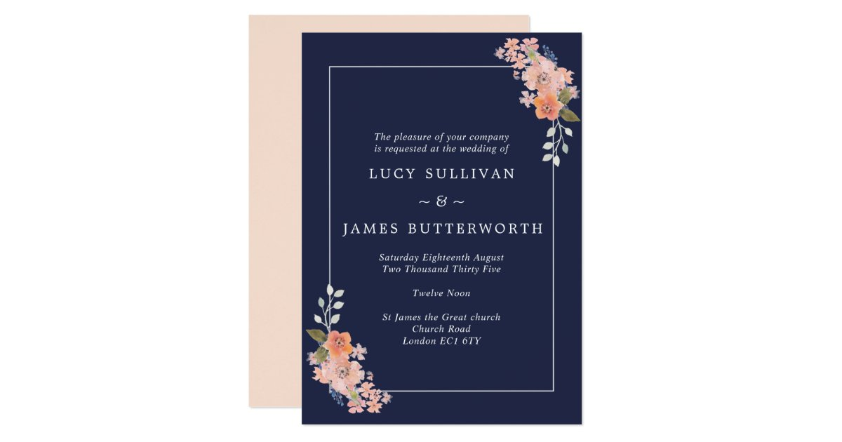Navy And Peach Wedding Invitations: Navy And Peach Floral Frame Wedding Invitation