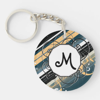 Navy and Peach Modern-Retro Stripes with Monogram Keychain