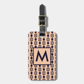 Navy and Peach Retro Square Pattern Bag Tag
