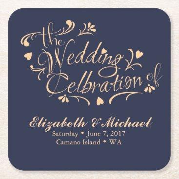 ericksondesigns Navy and Peach Wedding Coaster