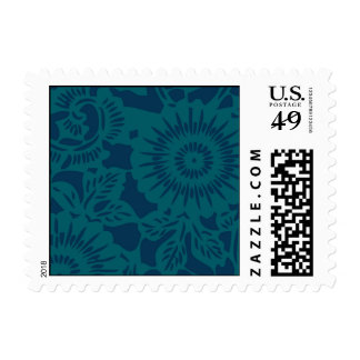 Navy and Peacock flowers and leaves Postage