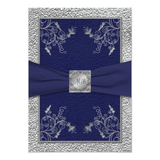 Navy and Pewter Monogrammed Wedding Invitation