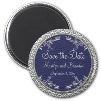 Navy and Pewter Save the Date Magnet magnet