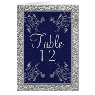 Navy and Pewter Table Card card