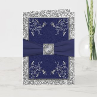 Navy and Pewter Thank You Card card