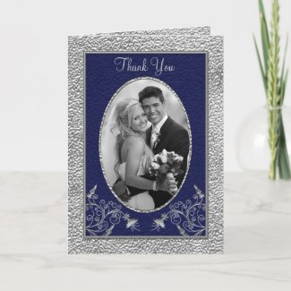 Navy and Pewter Thank You Card with Photo card