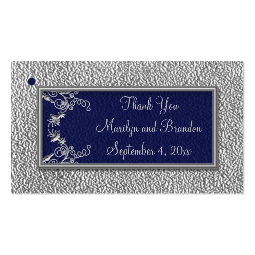 Navy and Pewter Wedding Favor Tags Business Cards