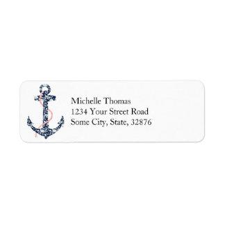 Navy and Pink Anchor Beach Wedding Custom Return Address Label