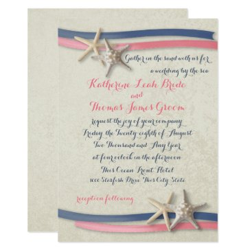 Beach Themed Navy and Pink Beach Wedding Starfish and Ribbon Card