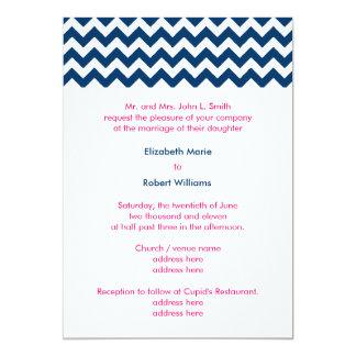 Navy and Pink Chevron Wedding Invitation