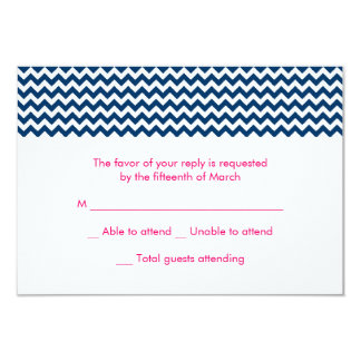Navy and Pink Chevron Wedding RSVP Card