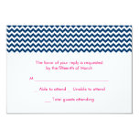 Navy and Pink Chevron Wedding RSVP Card Custom Announcements