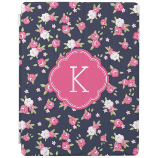 Navy and Pink Chic Vintage Floral Print Monogram iPad Smart Cover