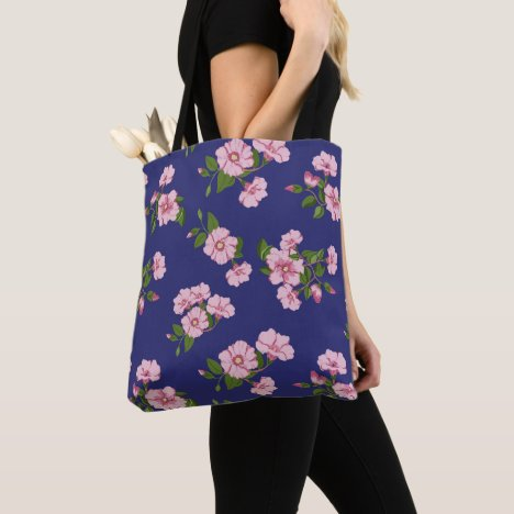 Navy and Pink Desert Rose Floral Tote Bag