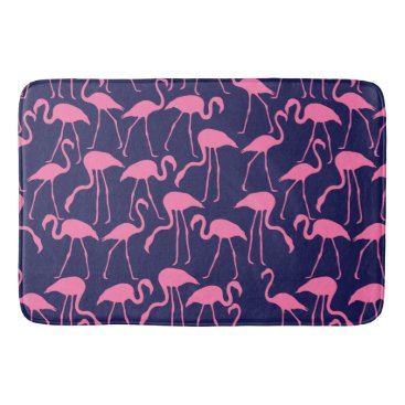 Beach Themed Navy and Pink Flamingo Pattern Bathroom Mat