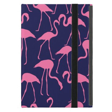 Beach Themed Navy and Pink Flamingo Pattern Case For iPad Mini