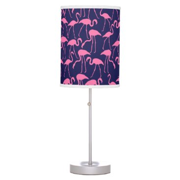Beach Themed Navy and Pink Flamingo Pattern Desk Lamp