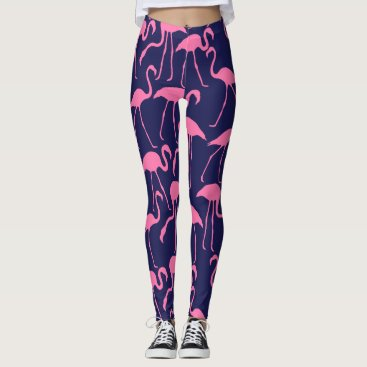 Beach Themed Navy and Pink Flamingo Pattern Leggings