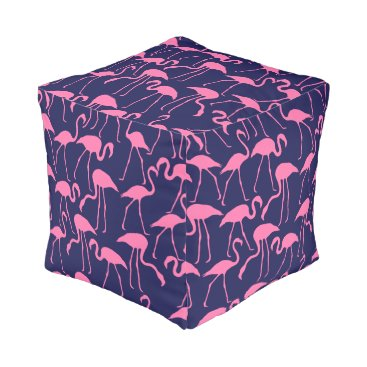 Beach Themed Navy and Pink Flamingo Pattern Pouf