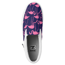 Navy and Pink Flamingo Pattern Slip-On Sneakers