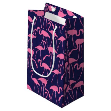 Beach Themed Navy and Pink Flamingo Pattern Small Gift Bag