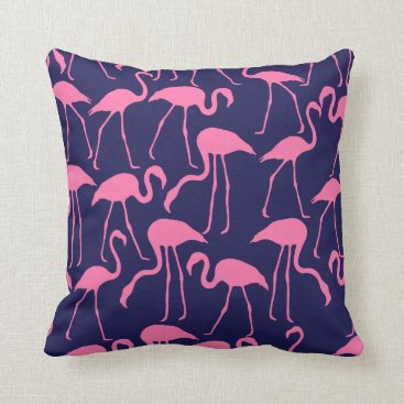 Beach Themed Navy and Pink Flamingo Pattern Throw Pillow