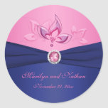 "Navy and Pink Floral 1.5"" Round Sticker"