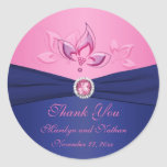"""Navy and Pink Floral 3"""" Round Thank You Sticker"""