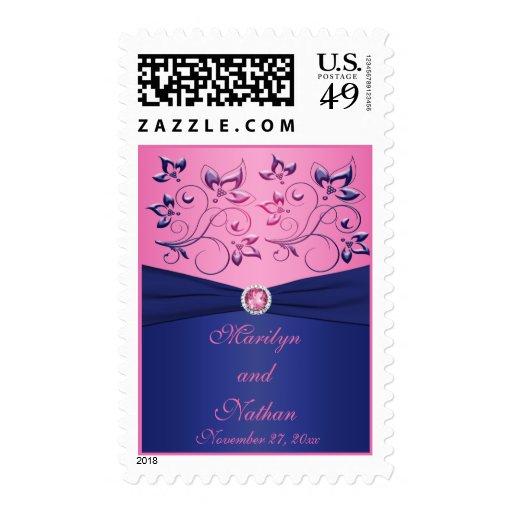 Navy and Pink Floral Monogrammed Wedding Postage