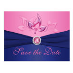 Navy and Pink Floral Save the Date Postcard