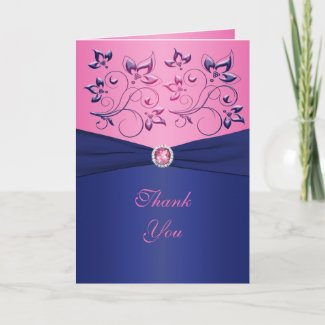 Navy and Pink Floral Thank You Card card