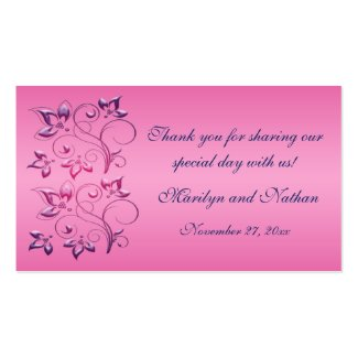 Navy and Pink Floral Wedding Favor Tag profilecard