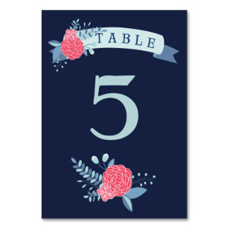 Navy and pink floral wedding table number cards table cards