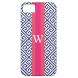Navy and Pink Greek Key Monogram Cover For iPhone 5/5S