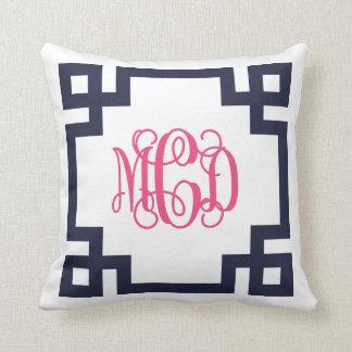 Navy and Pink Greek Key Script Monogram Pillows