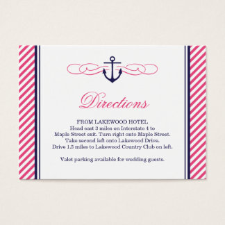 Navy and Pink Nautical Anchor Wedding Insert Cards
