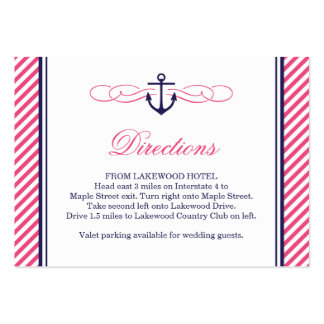 Navy and Pink Nautical Anchor Wedding Insert Cards Large Business Cards (Pack Of 100)
